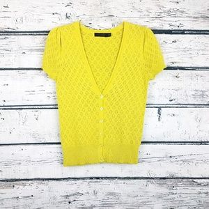 The Limited mustard yellow cotton cardigan in xs